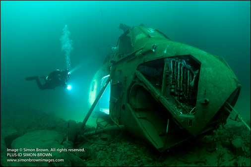 Submerged Wessex helicopter. Photo © Simon Brown